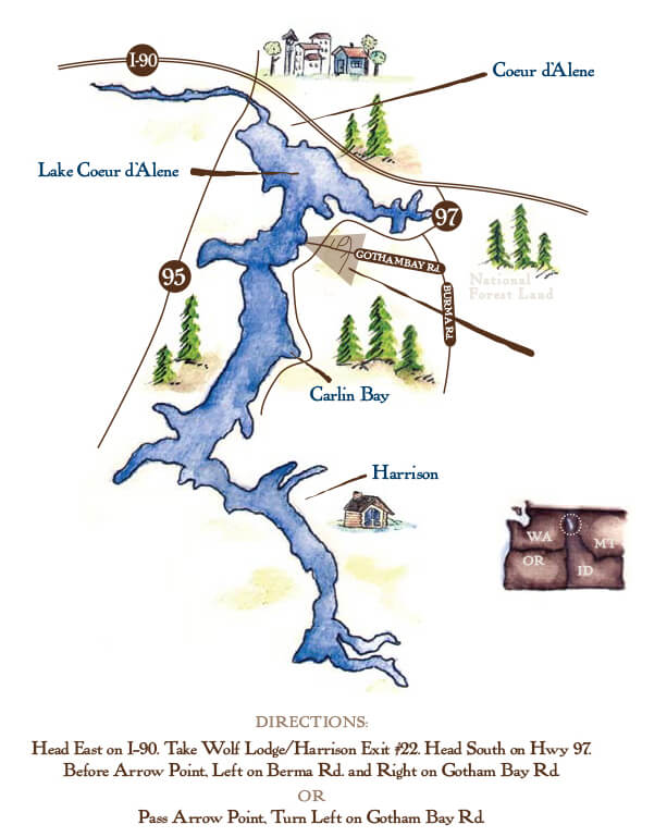 Lake Coeur d'Alene map | The Preserve at Gotham Bay | Coeur d'Alene, Idaho