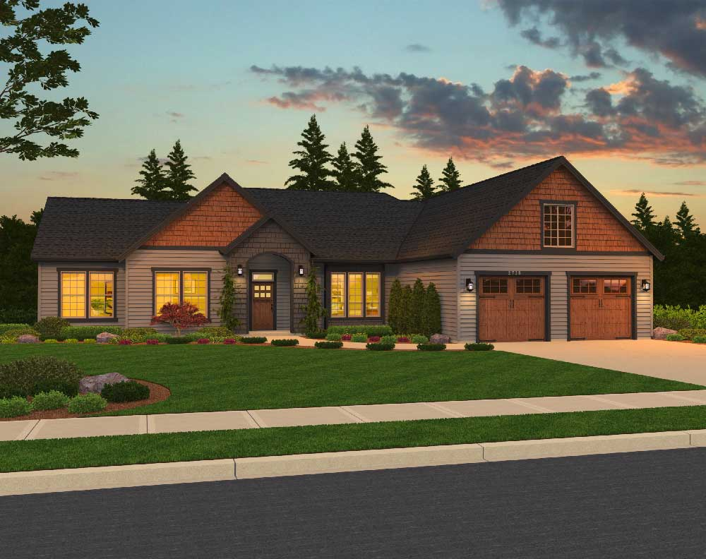 Boxwood front elevation | The Preserve at Gotham Bay | Coeur d'Alene, Idaho