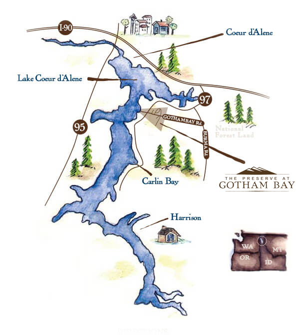 CDA lake map showing surrounding area